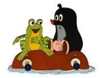 Dřevěné hračky DoDo Dřevěný 2 věšáček Krtek a žába