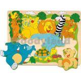 """Puzzle na desce """"Veselá africká zvířátka"""""""