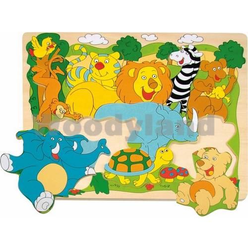 """Dřevěné puzzle na desce """"Veselá africká zvířátka"""""""