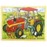 Dřevěné hračky Bigjigs Toys Dřevěné puzzle traktor 24 dílků