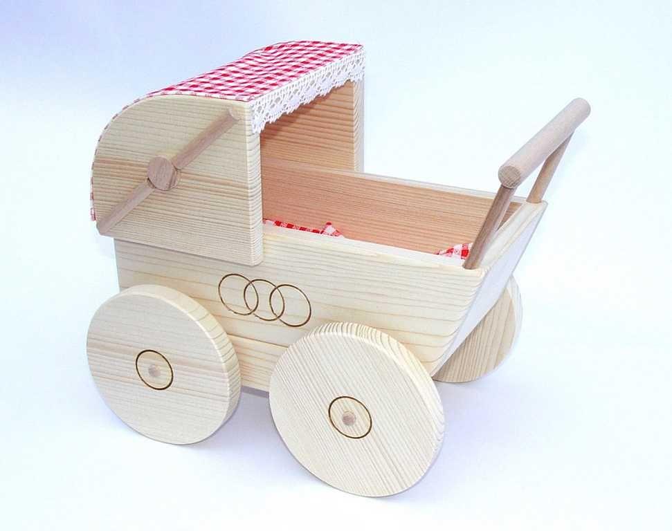 Dřevěné hračky Dřevěné hračky pro holky - Kočárek pro panenky přírodní Česká dřevěná hračka