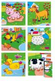 Dřevěné obrázkové kostky kubusy - Kubus 3x3 Zvířata