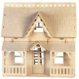 Dřevěné hračky Woodcraft Dřevěné 3D puzzle dům s verandou Woodcraft construction kit
