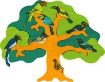 Dřevěné vkládací puzzle z masivu - Asijští ptáci