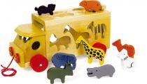 Small Foot Vkládačka dřevěný náklaďák se zvířaty Zoo menší