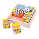 Dřevěné hračky Bigjigs Toys Obrázkové kostky kubusy Safari 9 kostek