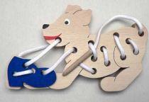 Dřevěná hračka - Prošívání a provlékání - Pejsek