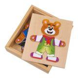 Small Foot Dřevěné puzzle oblékání medvídků