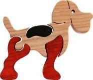 Fauna Dřevěné vkládací puzzle z masivu malý pejsek