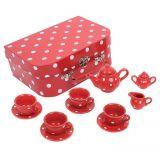 Dřevěné hračky Bigjigs Toys Červený puntikovaný čajový set