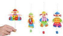 Dřevěná dekorace - Hýbající se klaun na zavěšení