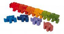 Dřevěné hračky - Vkládací puzzle - Sloni s číslicemi