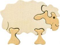 Fauna Dřevěné vkládací puzzle z masivu ovečka bílá