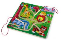Small Foot Dřevěné hry magnetický labyrint Zoo