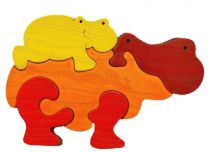 Dřevěné vkládací puzzle z masivu - vkládačka Hroch oranžový