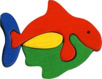 Fauna Dřevěné vkládací puzzle z masivu malá rybka