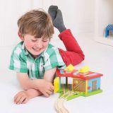 Dřevěné hračky Bigjigs Rail Trojité depo s vraty