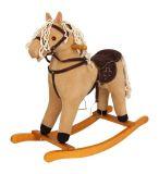 Small Foot Dřevěný houpací manšestrový kůň se zvuky