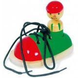 Small Foot Dřevěná hračka hra zavaž si tkaničku Bota s panáčkem