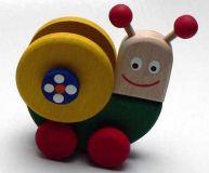 Dřevěné hračky - hračka na kolečkách - Šnek
