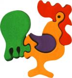 Fauna Dřevěné vkládací puzzle z masivu malý kohout