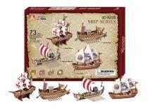 Třívrstvé pěnové 3D puzzle  - historické lodě 4ks