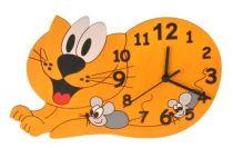 Dřevěné hračky DoDo Dětské dřevěné hodiny kočka