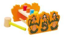 Dřevěné hračky - Zatloukací lavička s otočným prknem opice