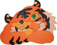 Dřevěné vkládací puzzle z masivu - vkládačka - Tygr