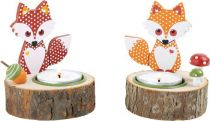 Dřevěné dekorace - Svícen Liška - 2 ks