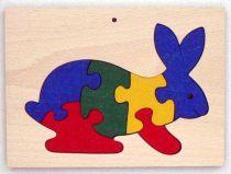 Dřevěné hračky - vkládací puzzle - Králík v rámečku