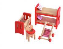 Dřevěné hračky Woody - Nábytek do domečku Dětský pokoj