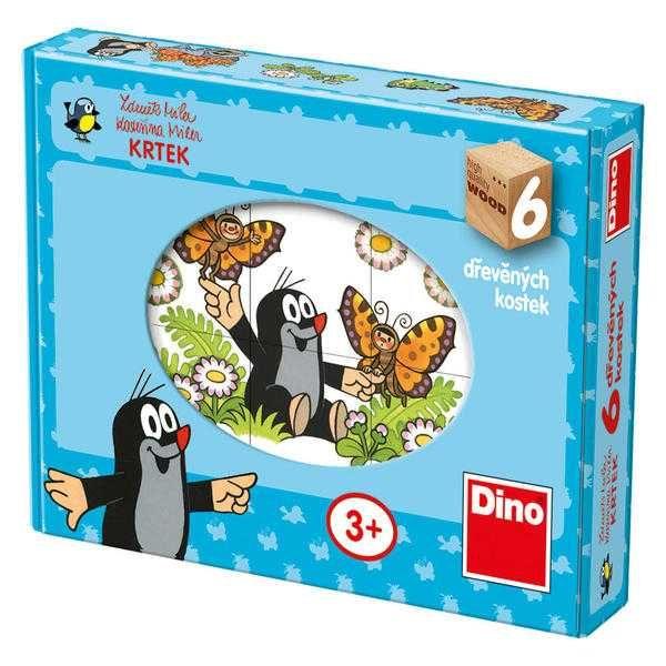 Dřevěné hračky Dino Obrázkové kostky veselý Krtek 6 kostek