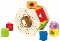 HAPE dřevěné hračky - dřevěná motorická šestihranná kostka