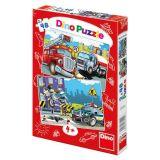 Papírové puzzle 2x48 dílků Hasiči a Policie