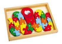 Dřevěné hračky - Vkládací puzzle ABC chobotnice