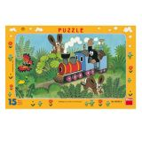 Dino Papírové puzzle Krtek a lokomotiva 15 dílků