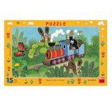 Papírové puzzle 15 dílků Krtek a lokomotiva