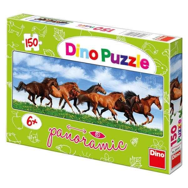 Dřevěné hračky Dino Papírové puzzle 150 dílků koně