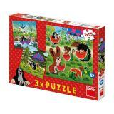Dino Papírové puzzle  Krteček a paraplíčko 3x55 dílků
