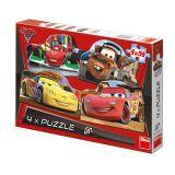 Papírové puzzle 4x54 dílků CARS 2
