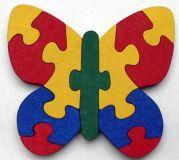 Dřevěné hračky - vkládací puzzle - Motýl bez rámečku