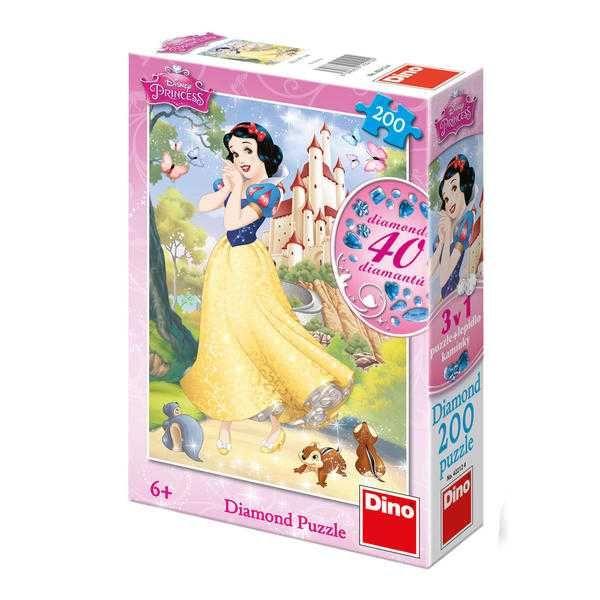 Dřevěné hračky Papírové puzzle 200 dílků Sněhurka Dino