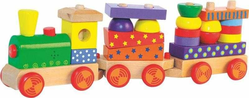 Dřevěné hračky Skládací vlak s potiskem, světlem a zvukem - dva vagony Woody