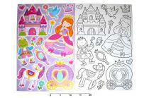 Dekorace nálepky na zeď omalovánky Princezna