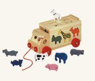 Dřevěné hračky Bino Skládací kamion se zvířaty