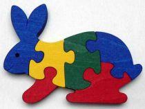 Dřevěné hračky - vkládací puzzle - Zajíc bez rámečku