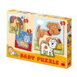 Papírové puzzle 2-5 dílků zvířátka