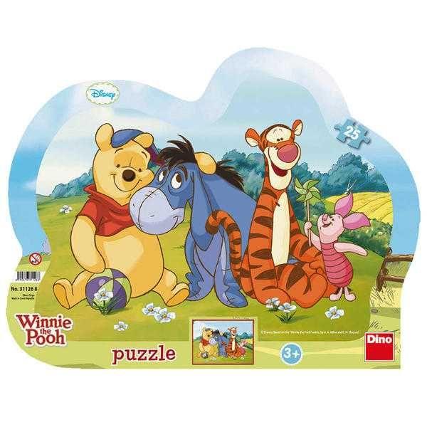 Dřevěné hračky Dino Papírové puzzle medvídek PÚ a kamarádi 25 dílků