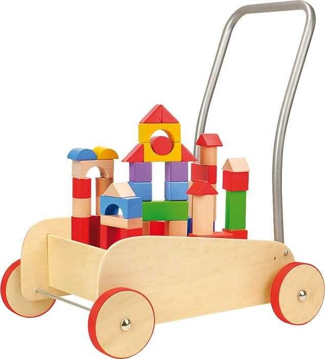 Dřevěné hračky Small Foot Chodítko dřevěné kostky ve vozíku Small foot by Legler